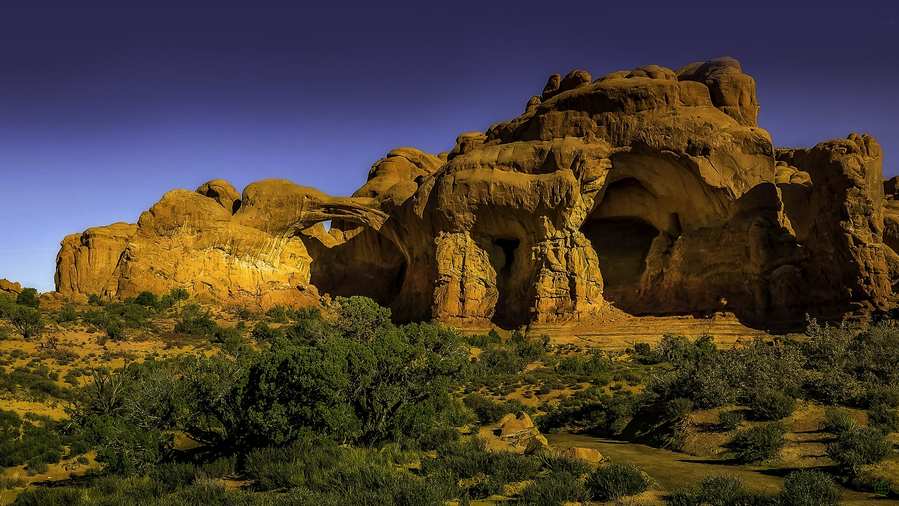 The Double Arch Rock Formation in Utah