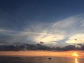 sea, vehicles, dawn