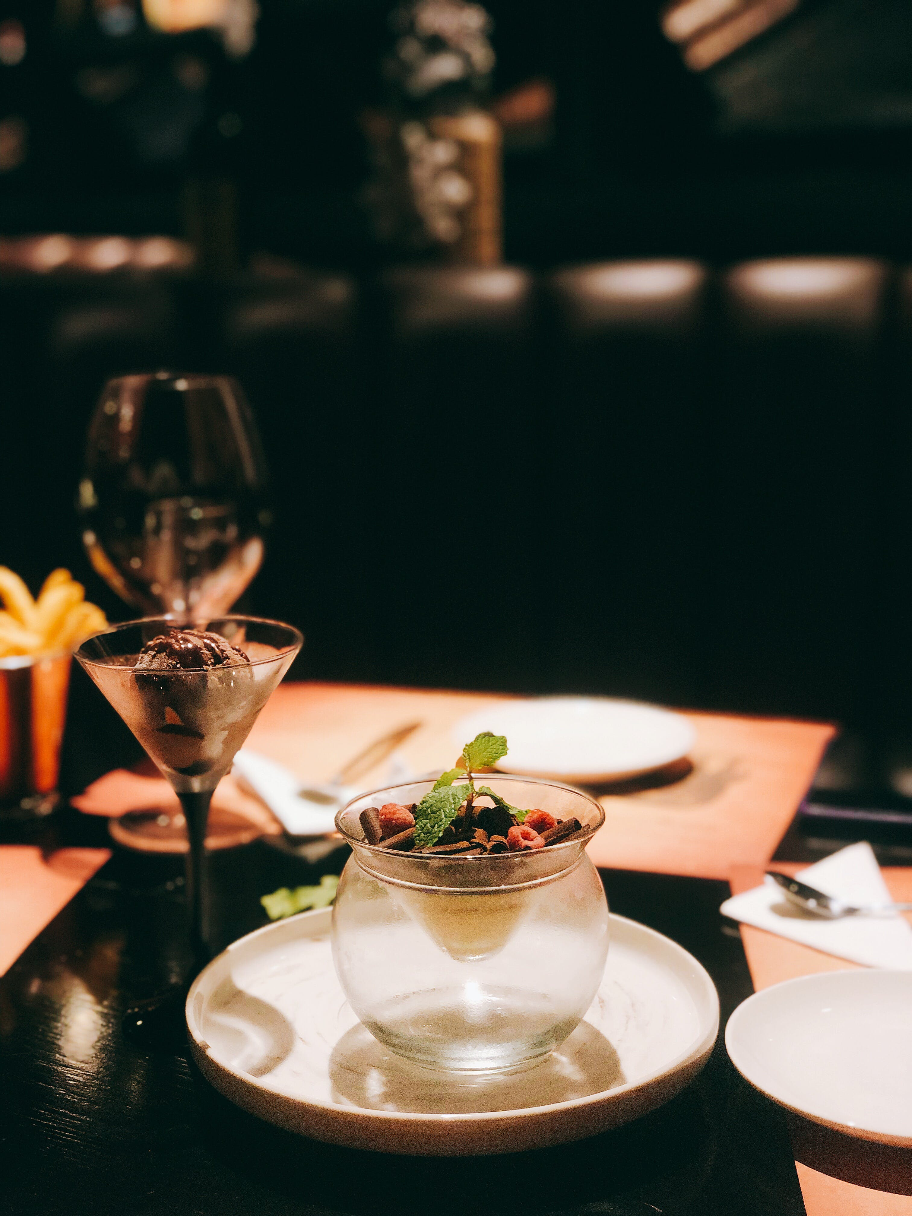 Cocktail Glass Beside Plate With Cup