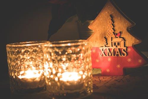 容器, 玻璃, 聖誕, 蠟燭 的 免費圖庫相片