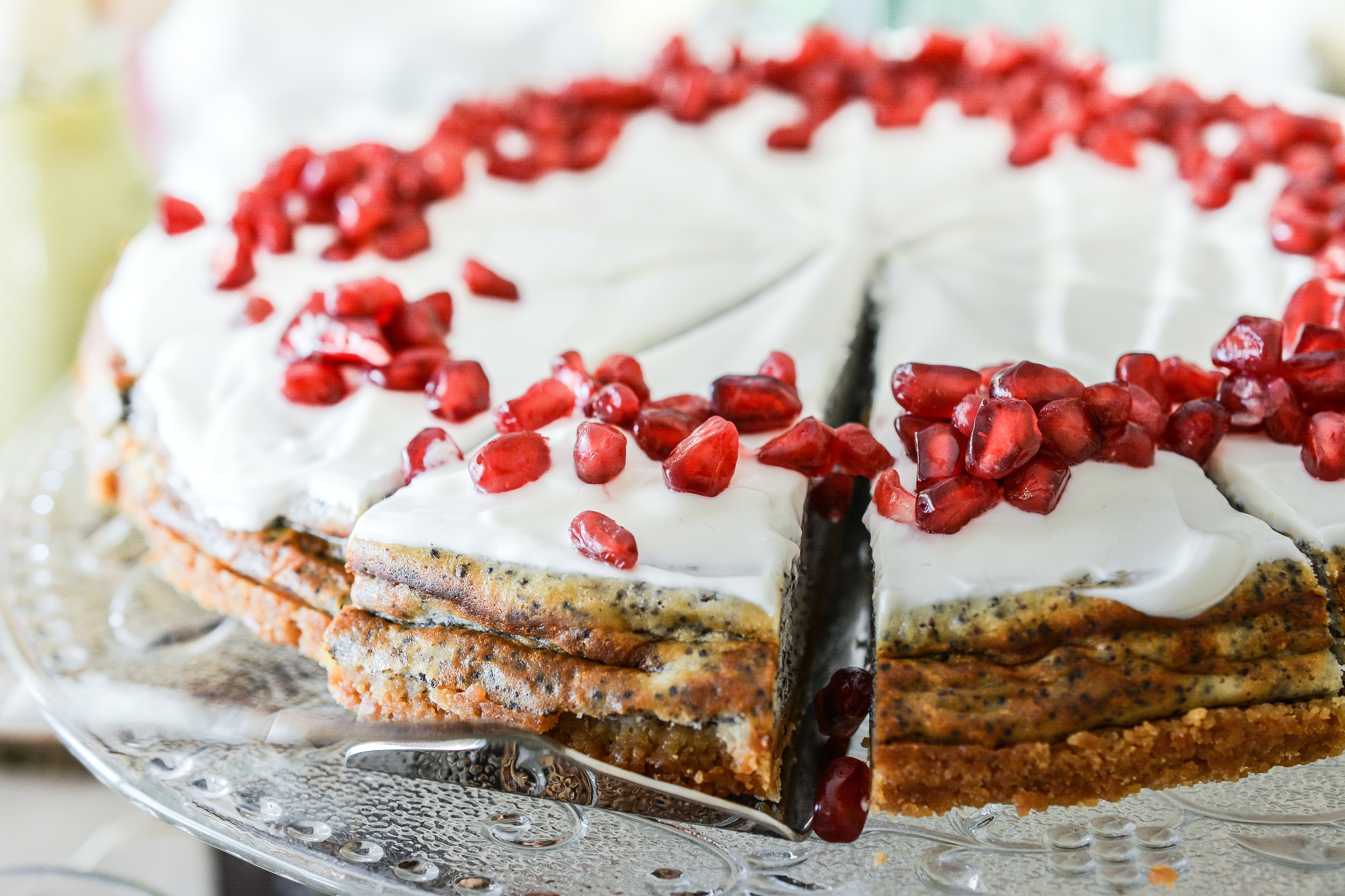 White-icing Pie With Red Berries