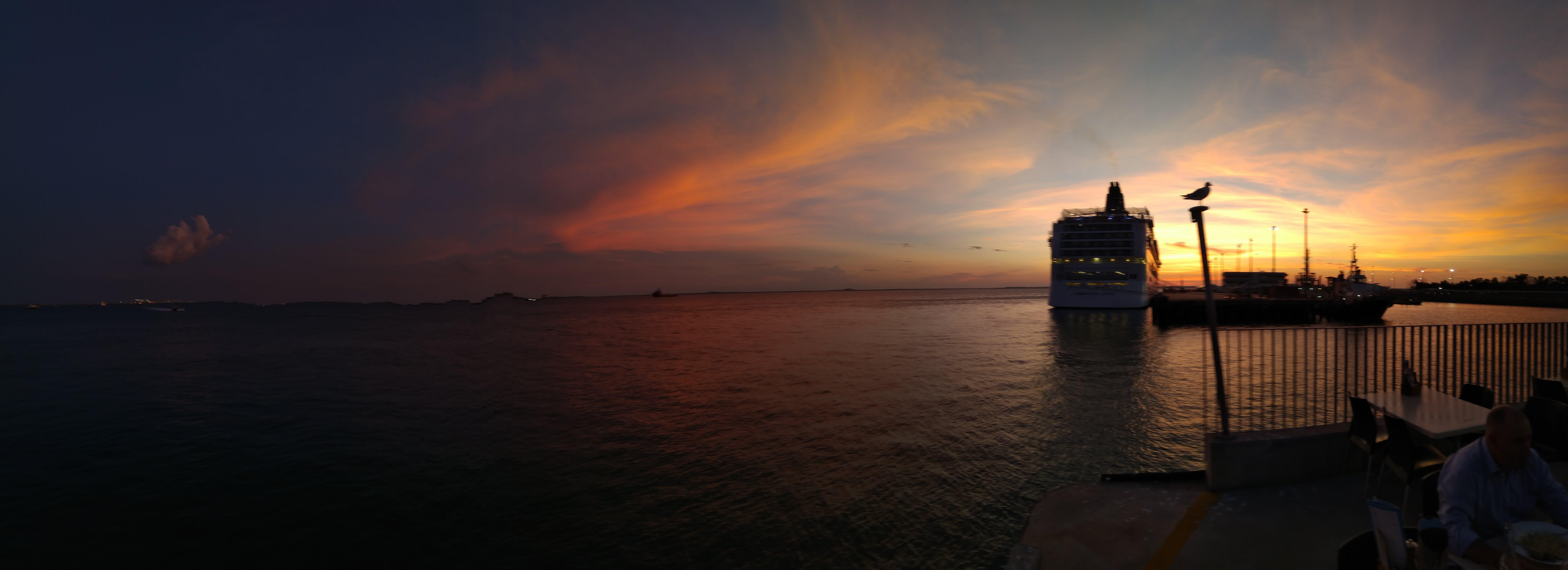 Free stock photo of cruise ship, harbor, sunset