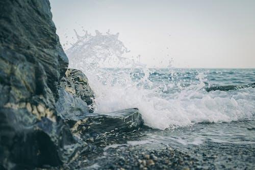 冷, 岩石, 岸邊, 招手 的 免費圖庫相片