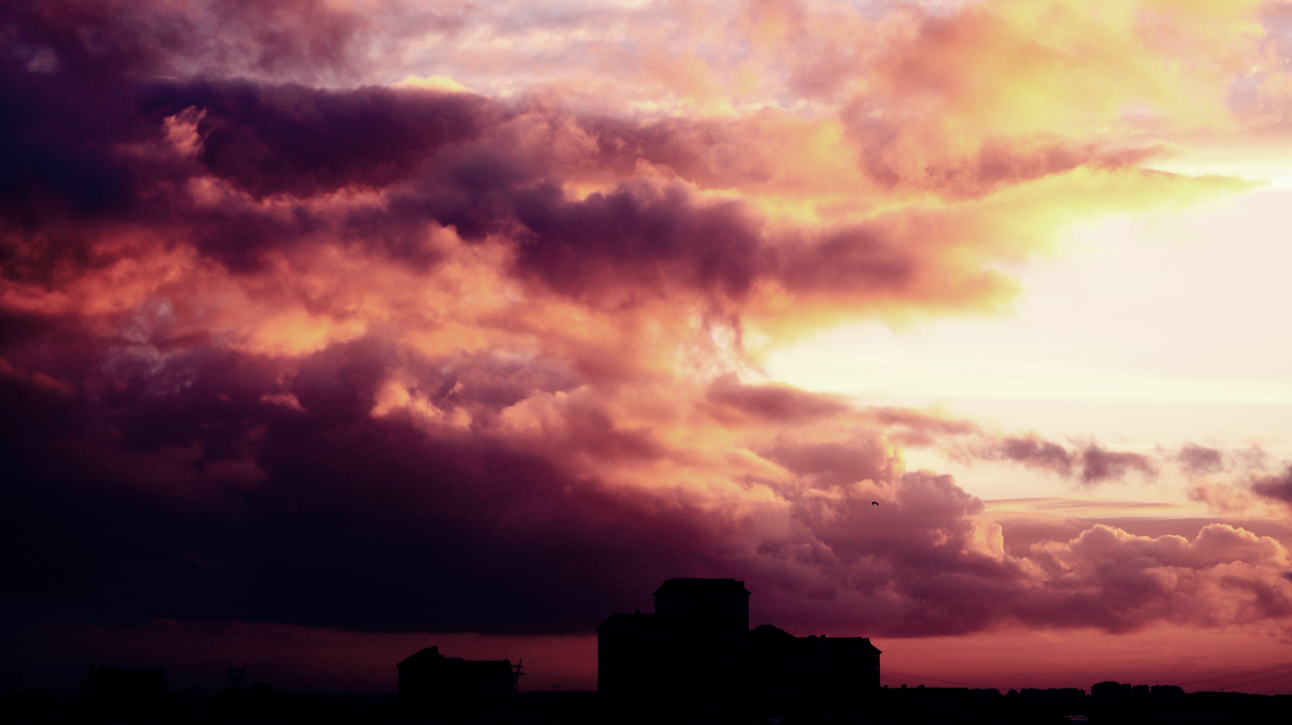 buildings, clouds, cloudscape
