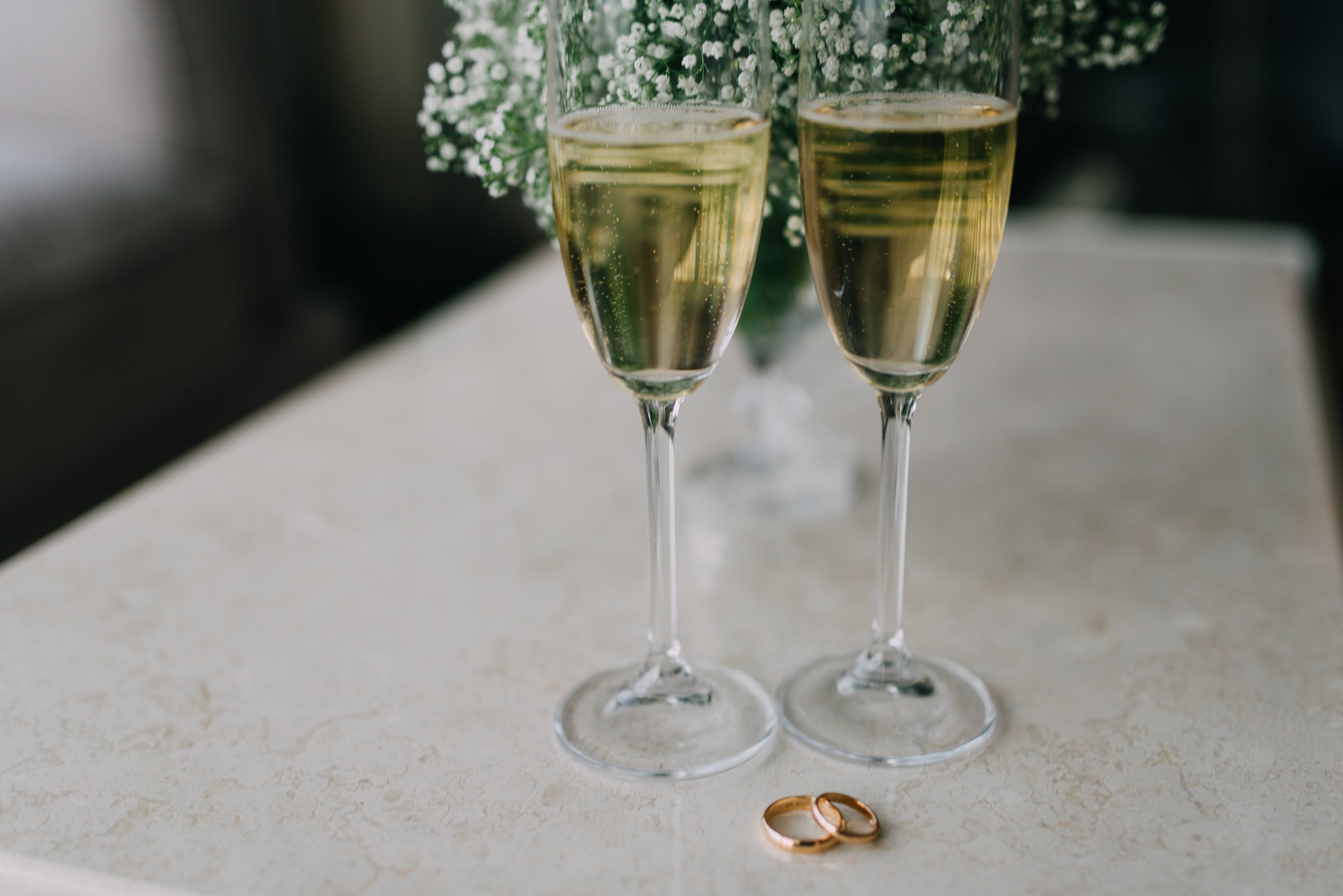 Two Clear Champagne Flutes