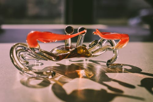 Clear and Red Crab Figurine