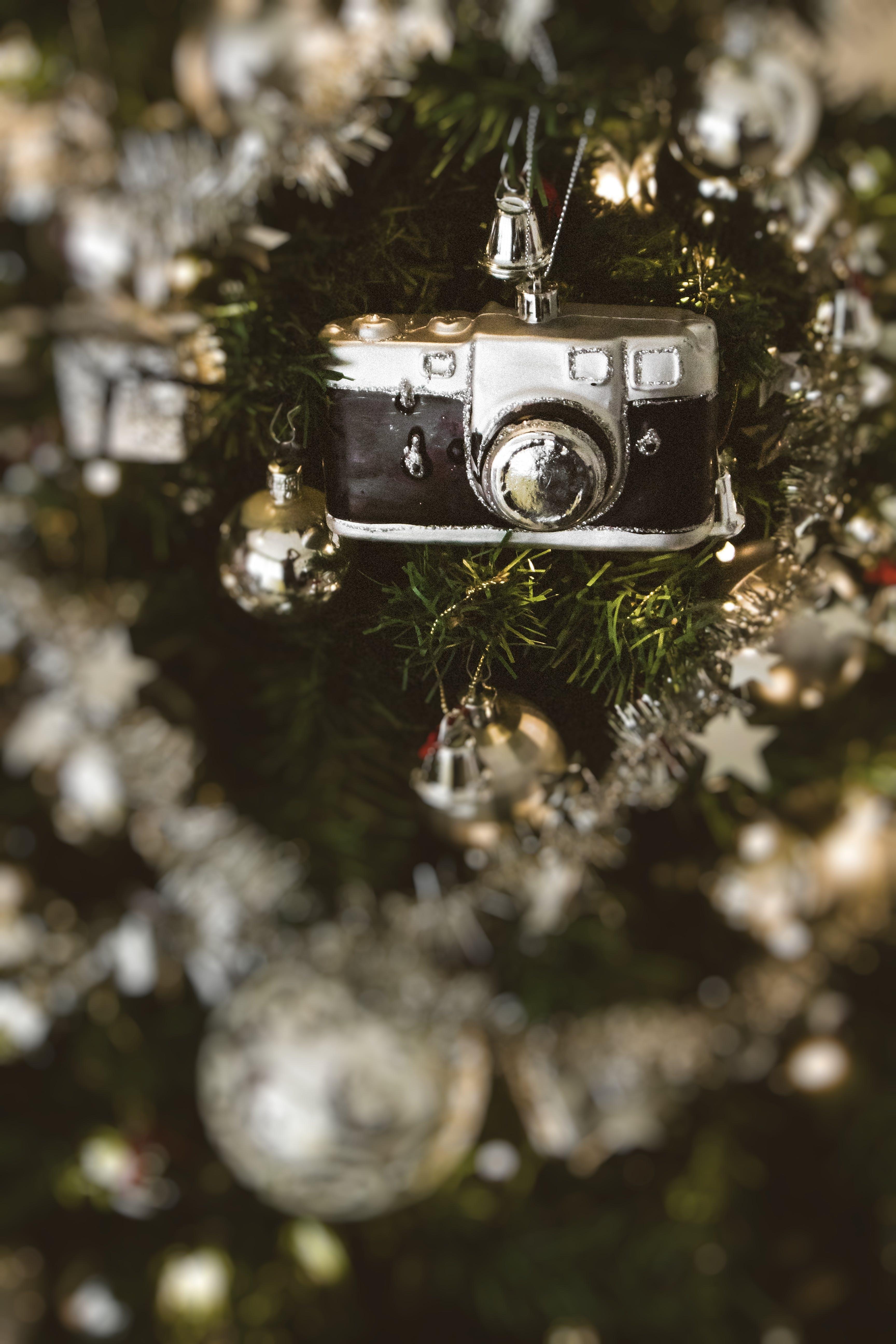 Black Camera Hanged on Christmas Tree