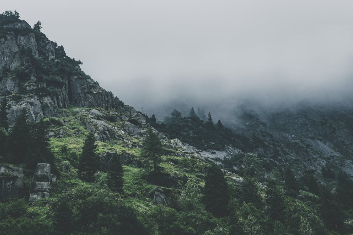 alpy, chmury, dolina