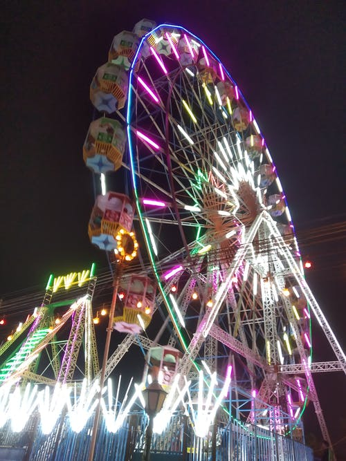 Free stock photo of big wheel, circus, city lights, timelapse
