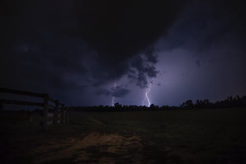 Kostenloses Stock Foto zu abend, bäume, bewölkt, blitzschlag