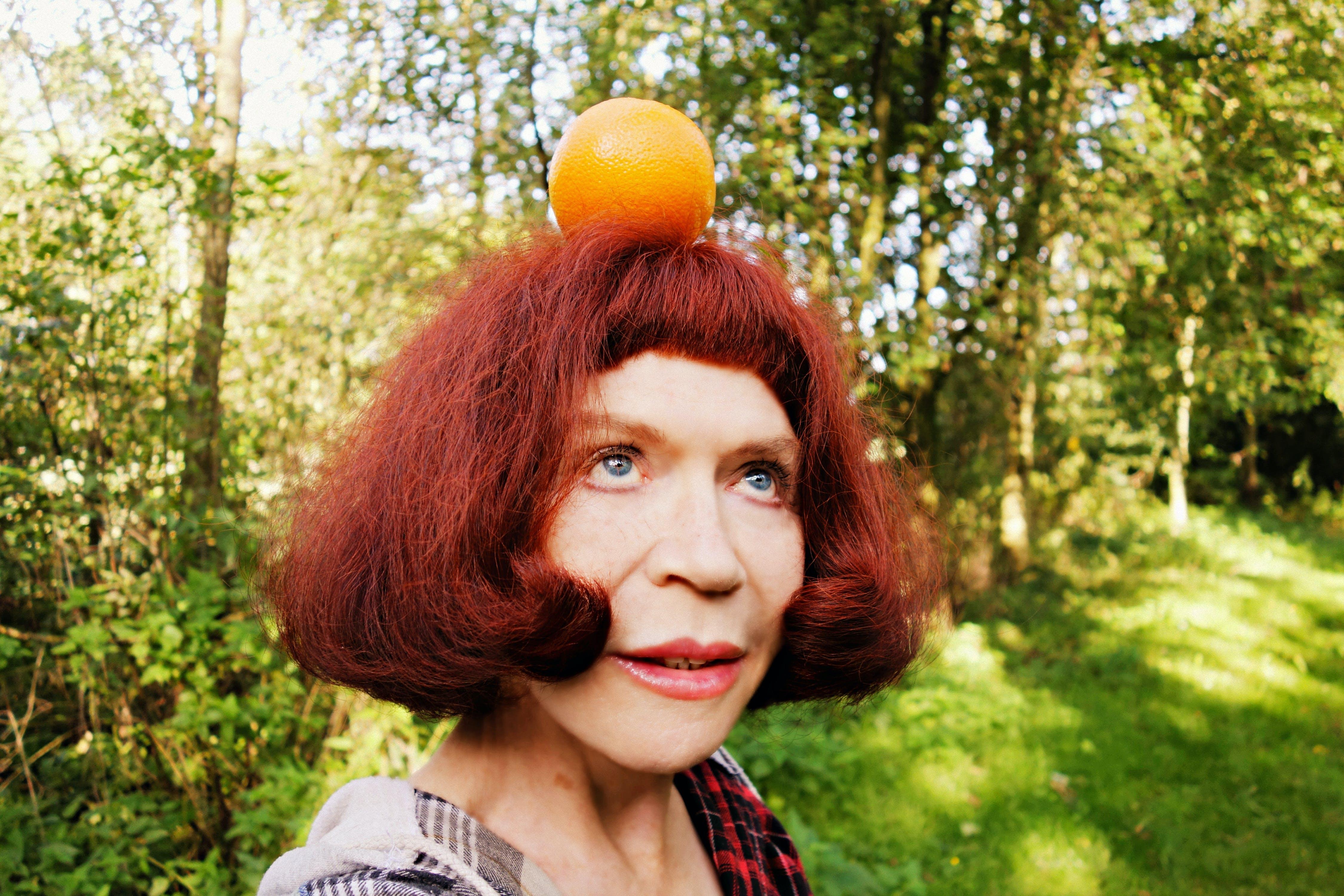 Free stock photo of woman, orange, face, portrait