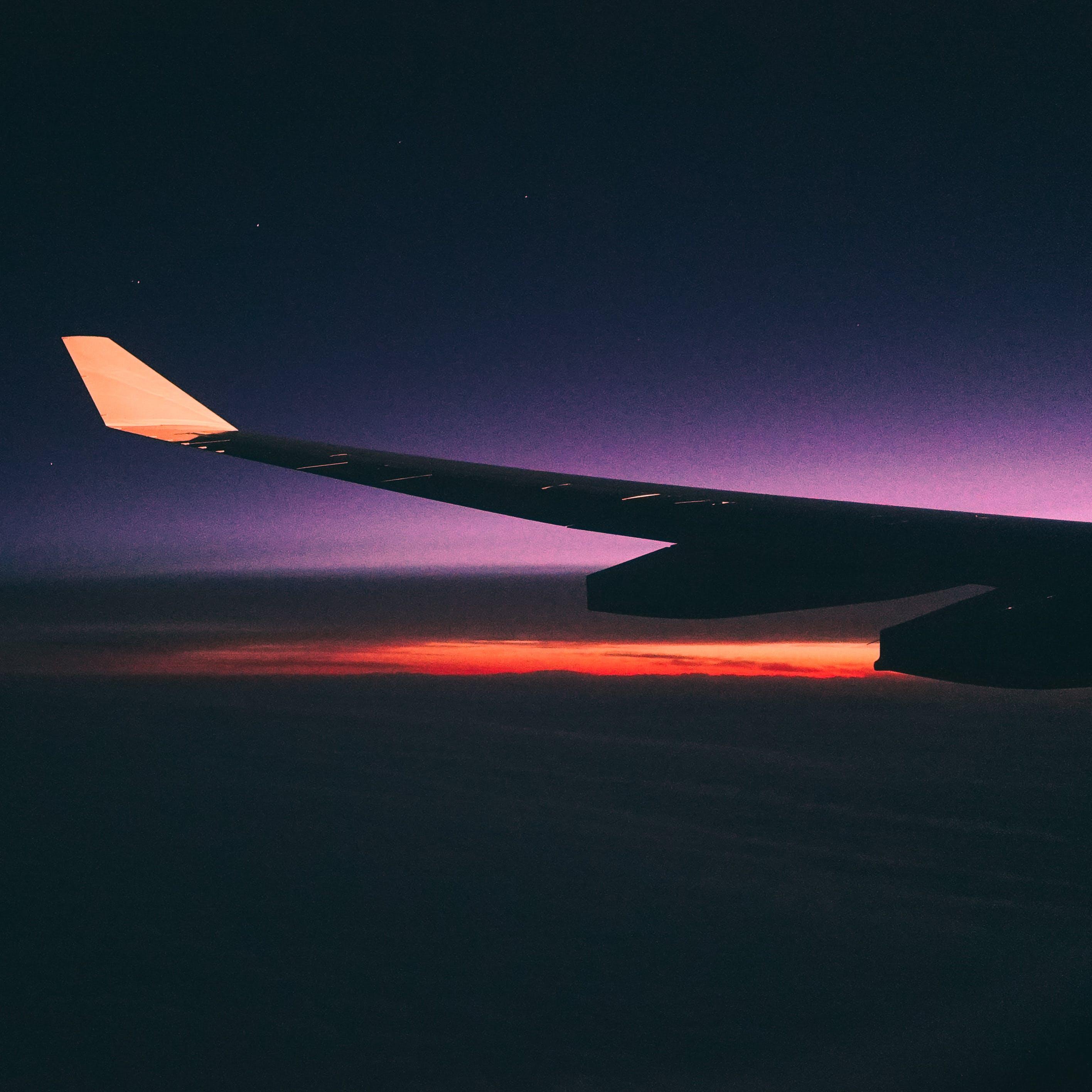 Foto d'estoc gratuïta de ala d'avió, ala de l'avió, alba, aviació