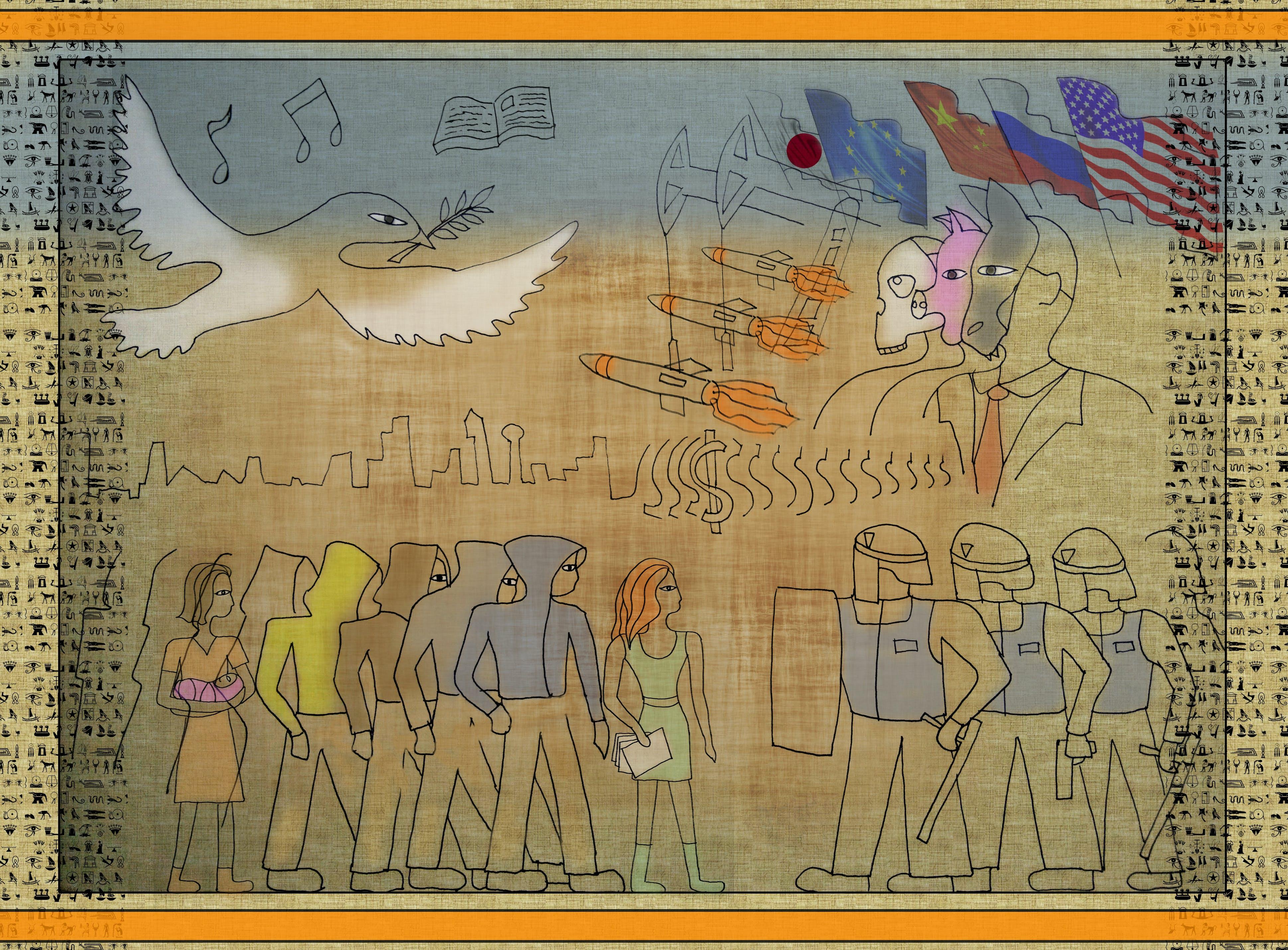 Free stock photo of atomic bomb, Egyptian hieroglyphs, evil, government