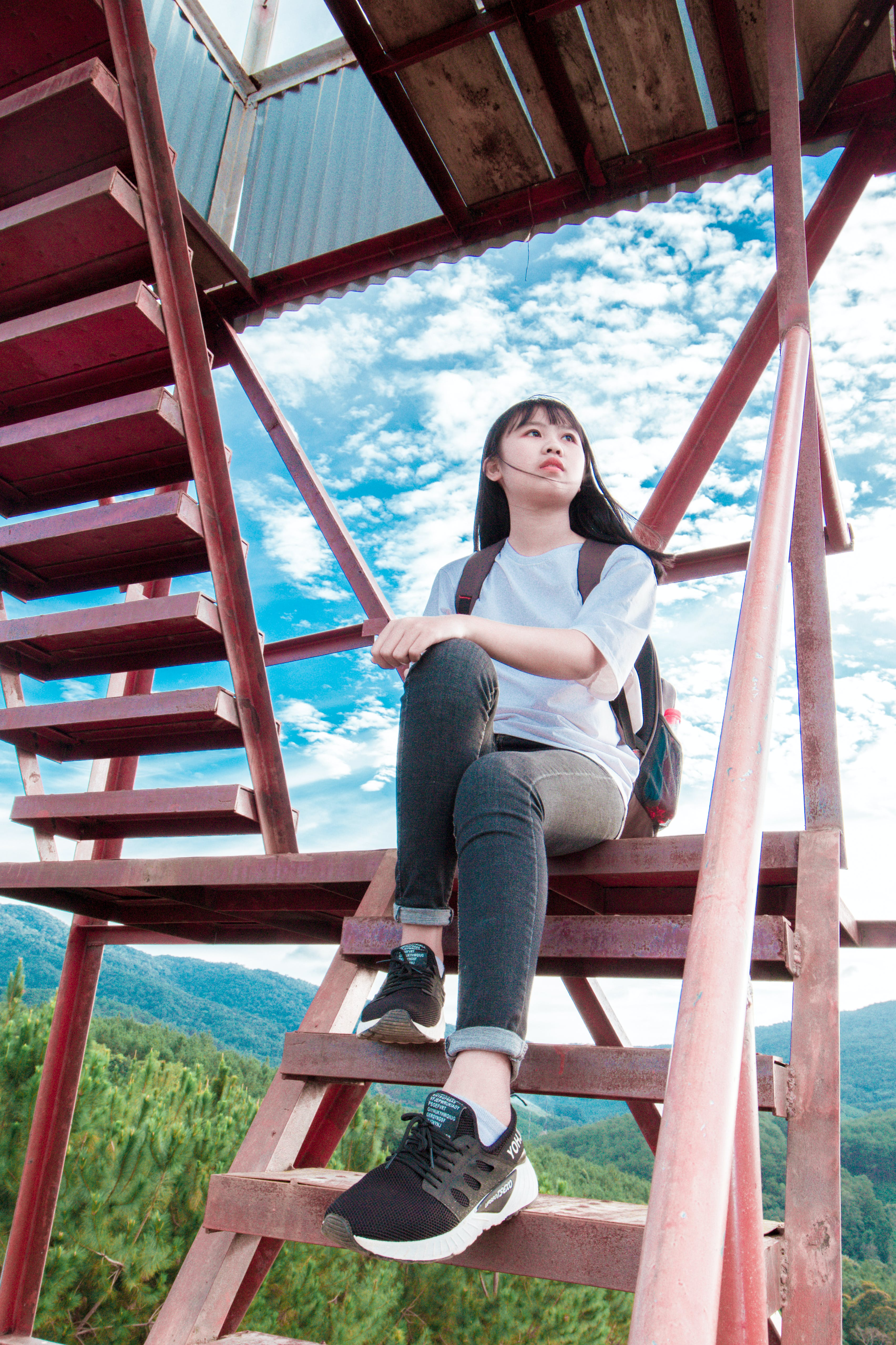 Photo of Girl Sitting On Stairs