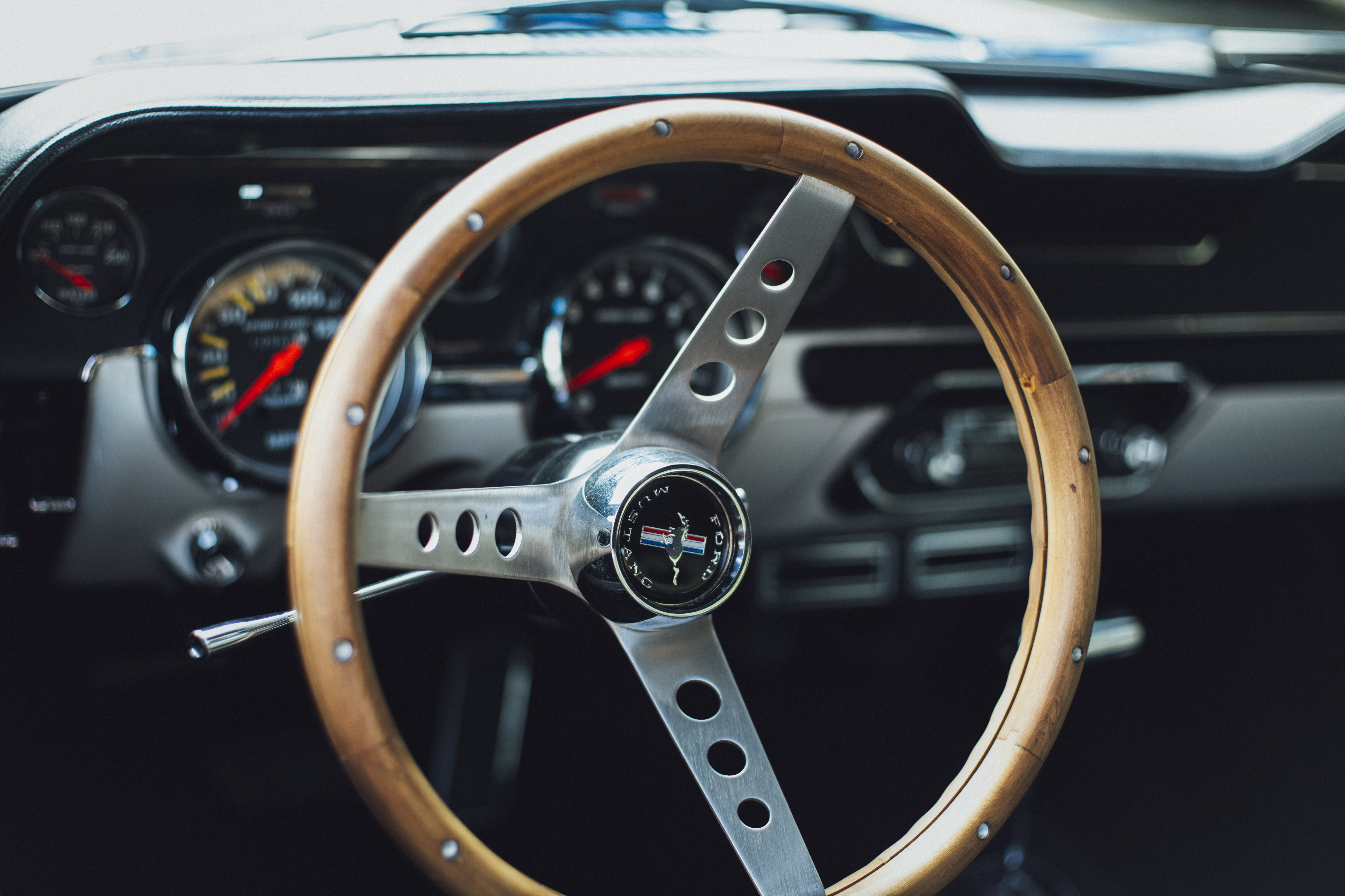 Close-up Photo of Classic Ford Mustang Interior