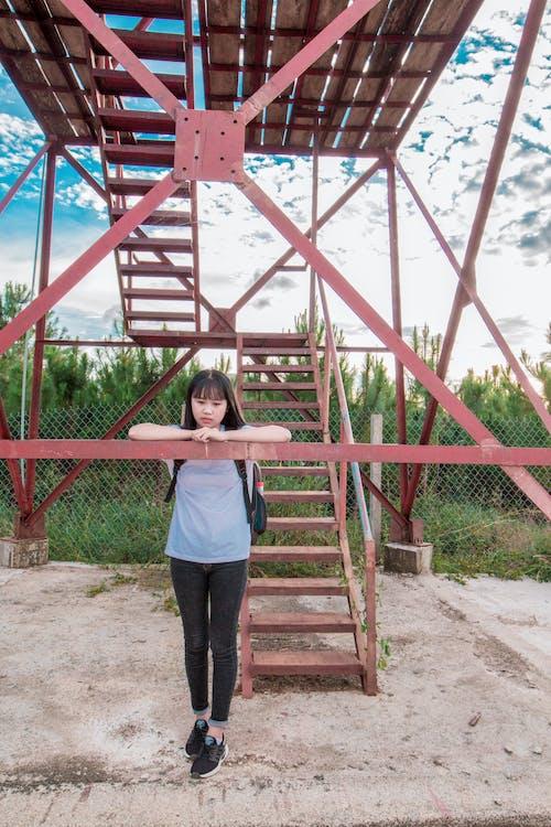 Ingyenes stockfotó aranyos lány, ázsiai lány, ég, fák témában