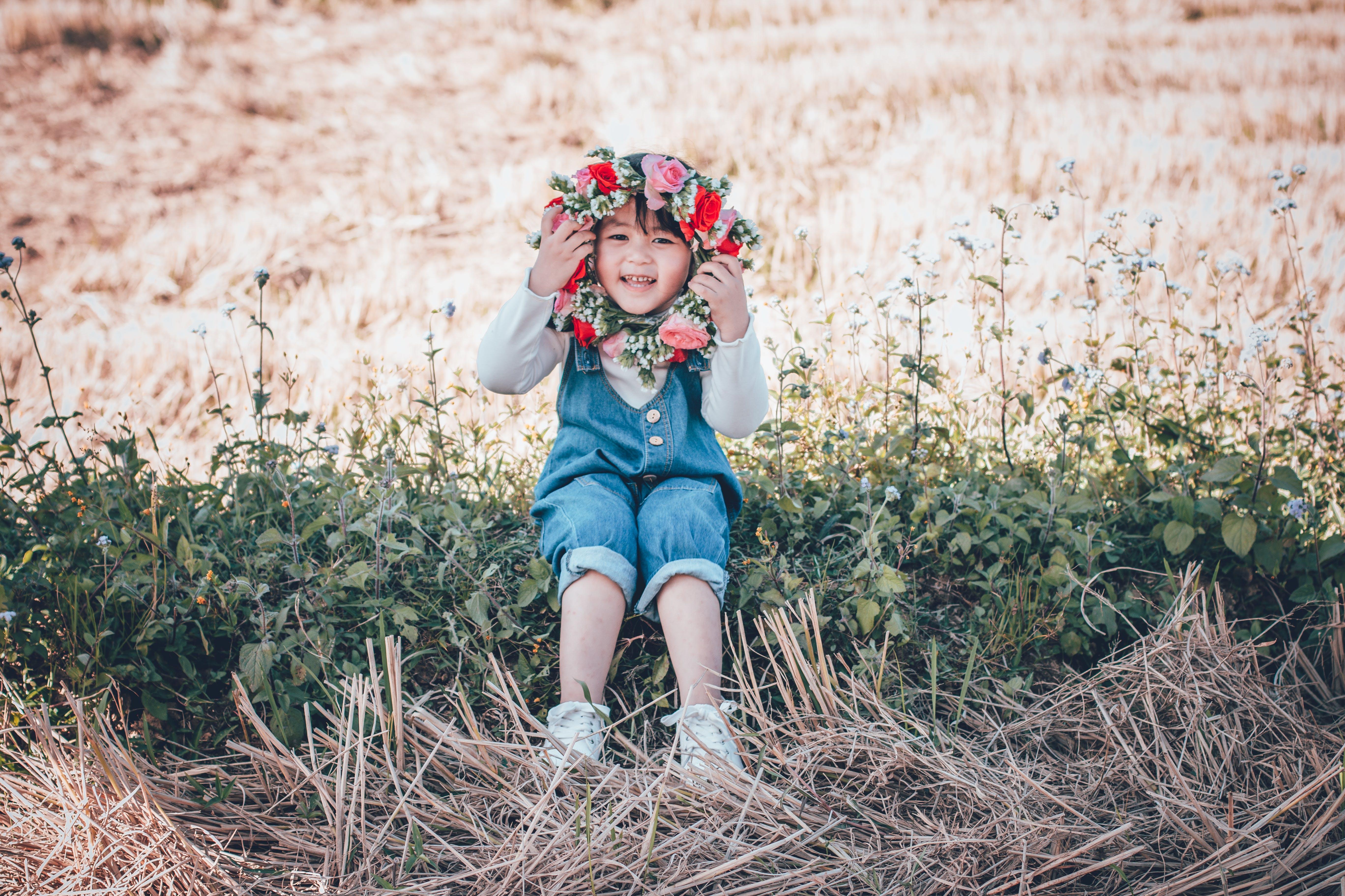 Girl Holding Flower Crown
