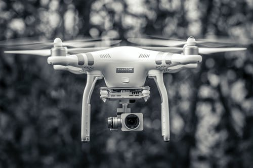 Free stock photo of black and white, dji, drone, flying