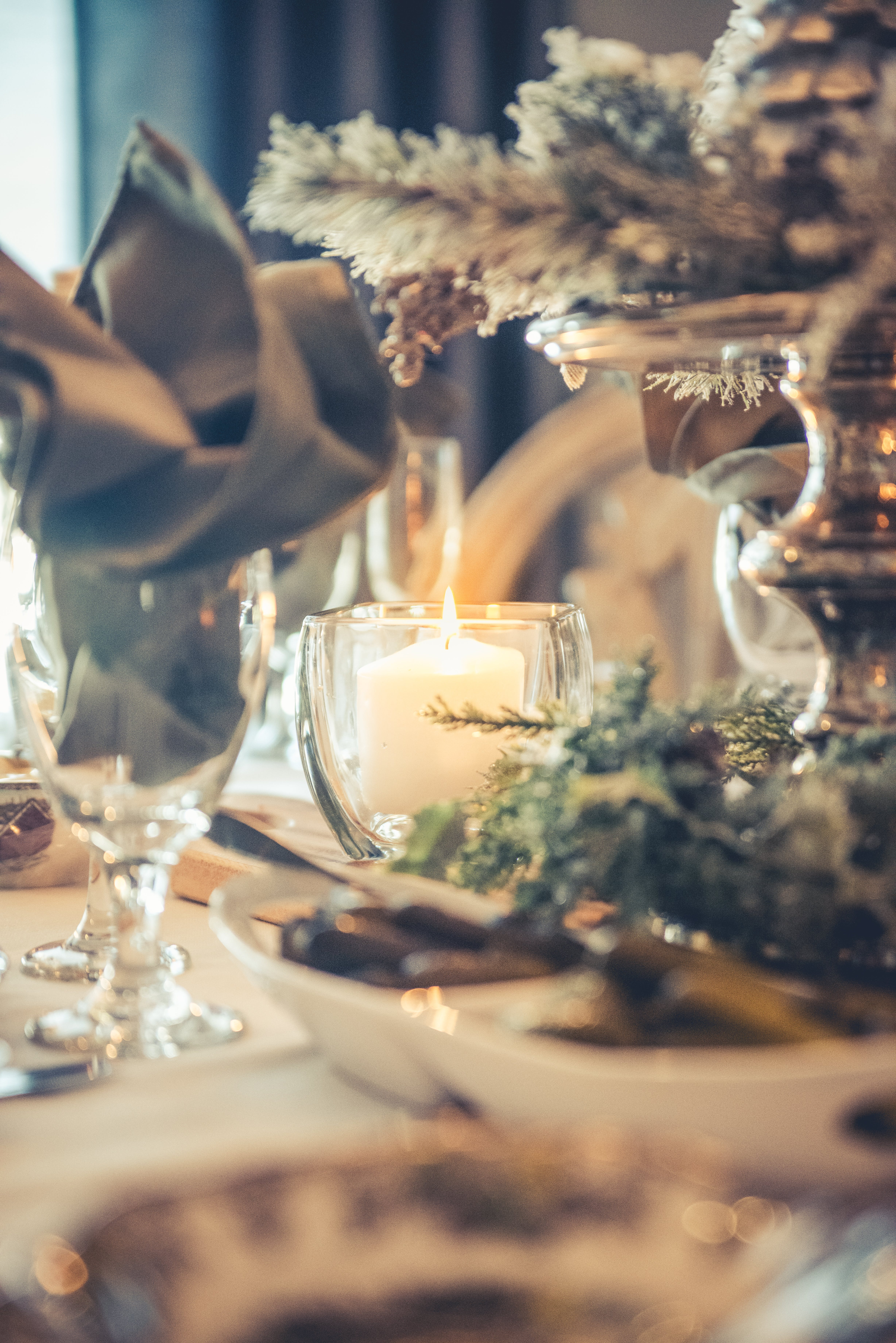 Free stock photo of candle, christmas, dinner, holiday