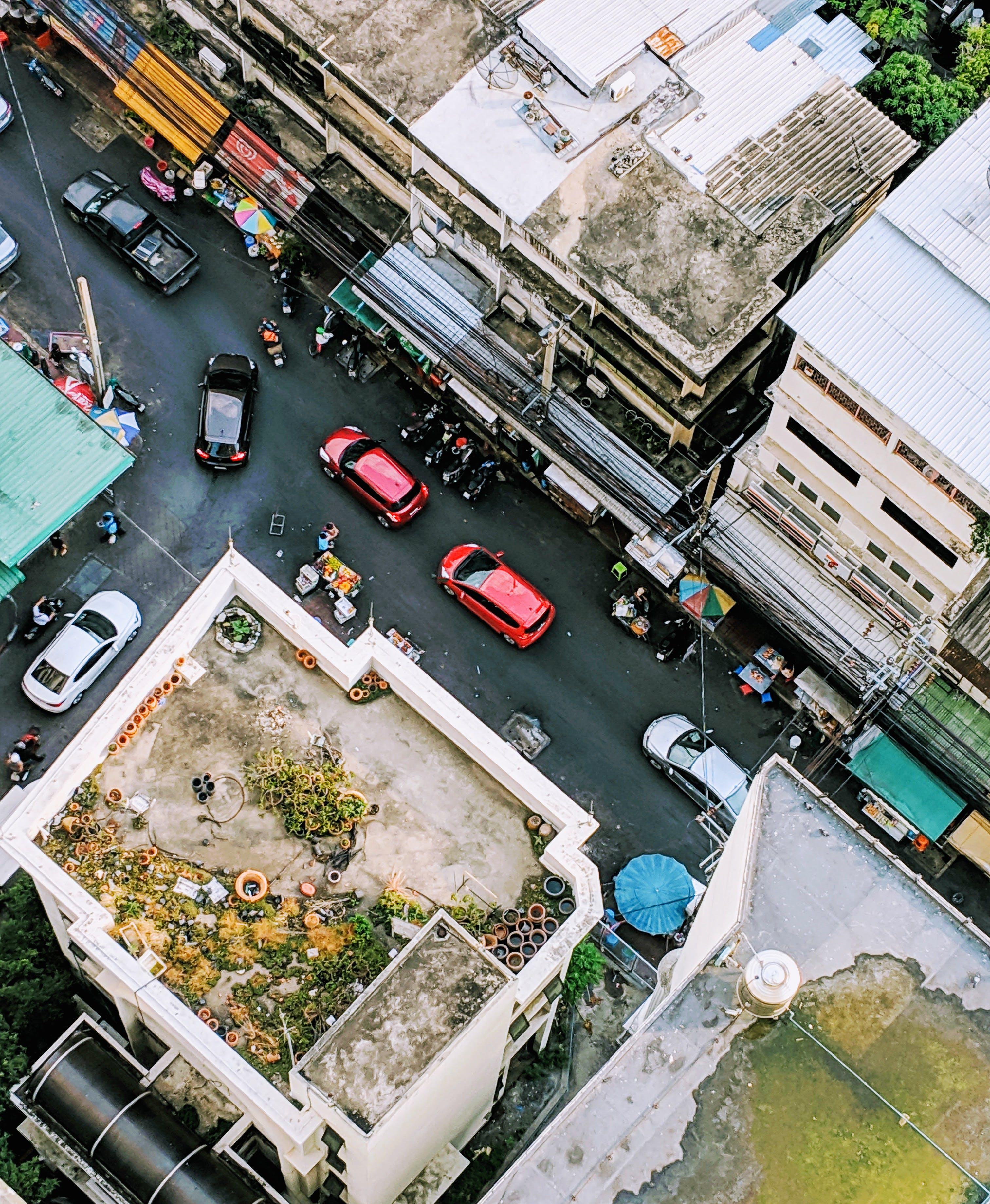 Gratis lagerfoto af Bangkok, biler, bygninger, fra oven