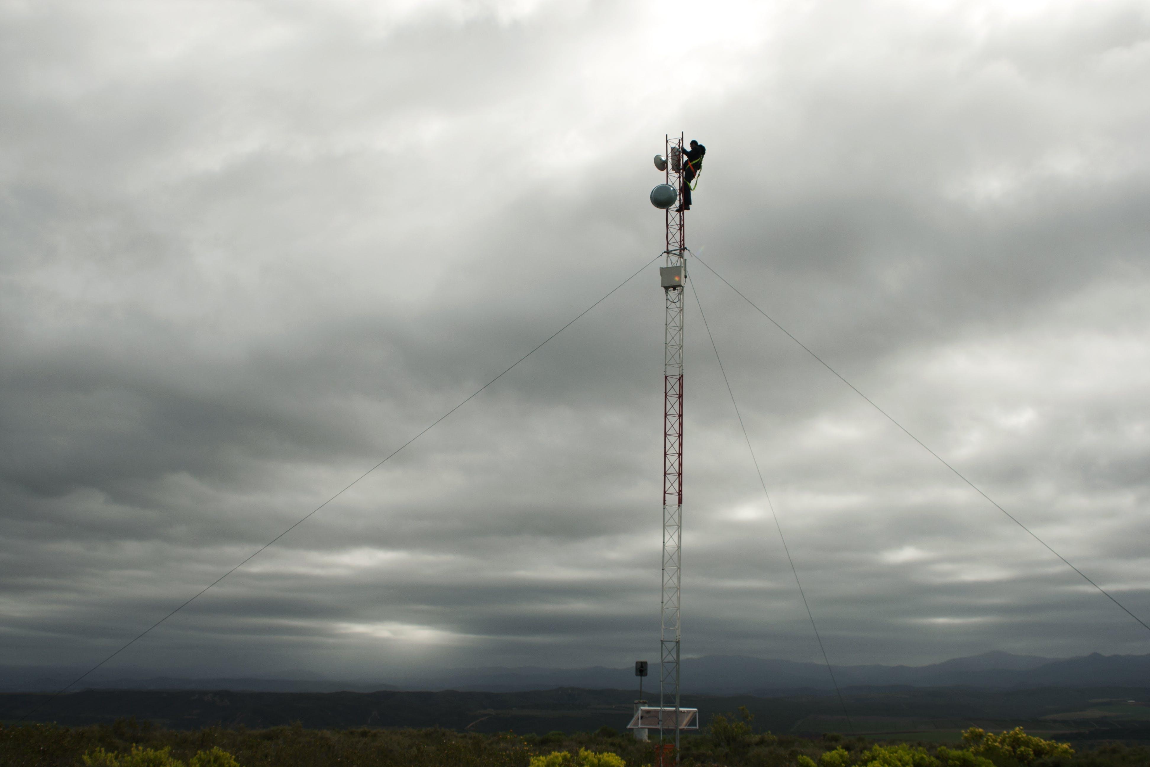 Free stock photo of harnass, I.T. technician, industrial safety, lattice mast