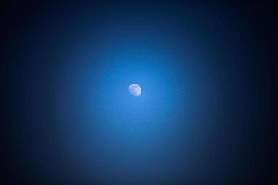 blue, half-moon, lunar