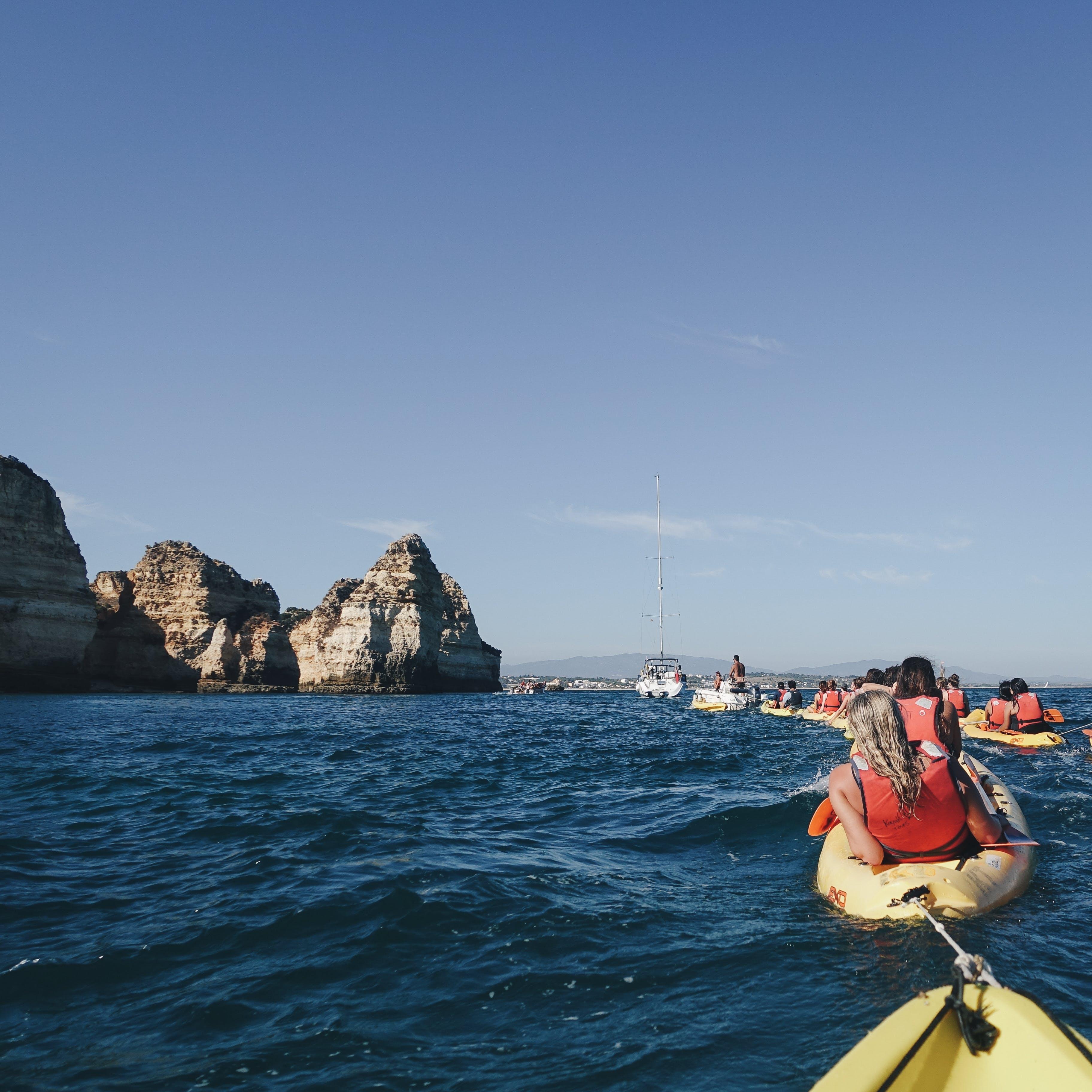 Free stock photo of kayaks, ocean