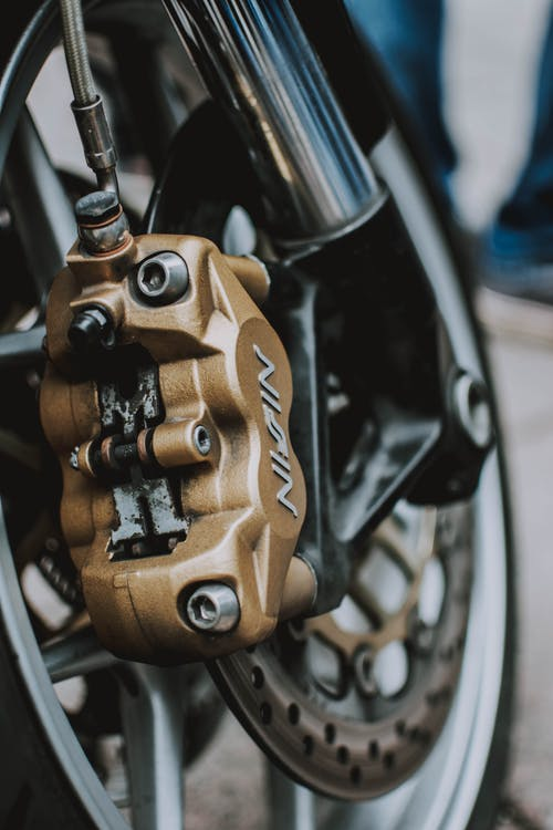 Close-Up Photo of Motorcycle Brake System