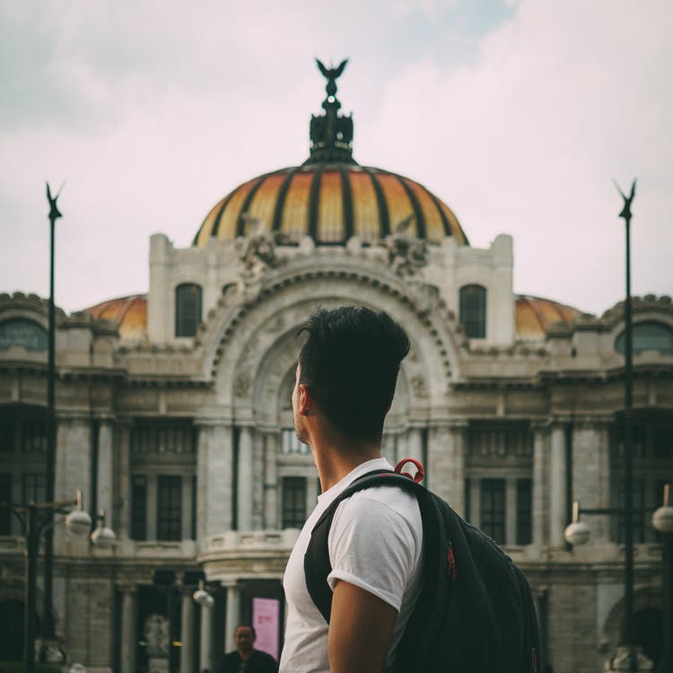 arquitectura, edificio, hombre
