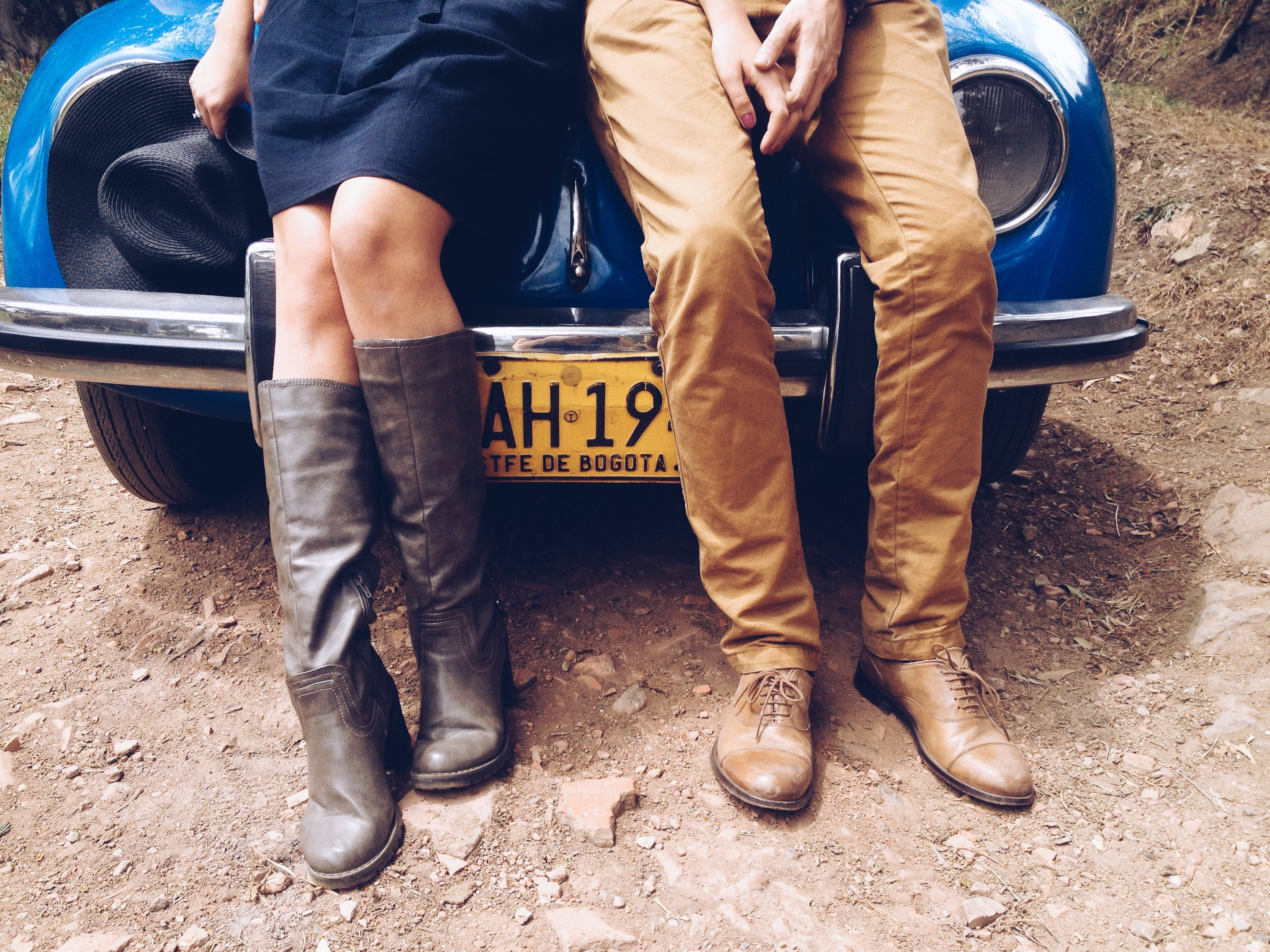 of automobile, boots, car, couple