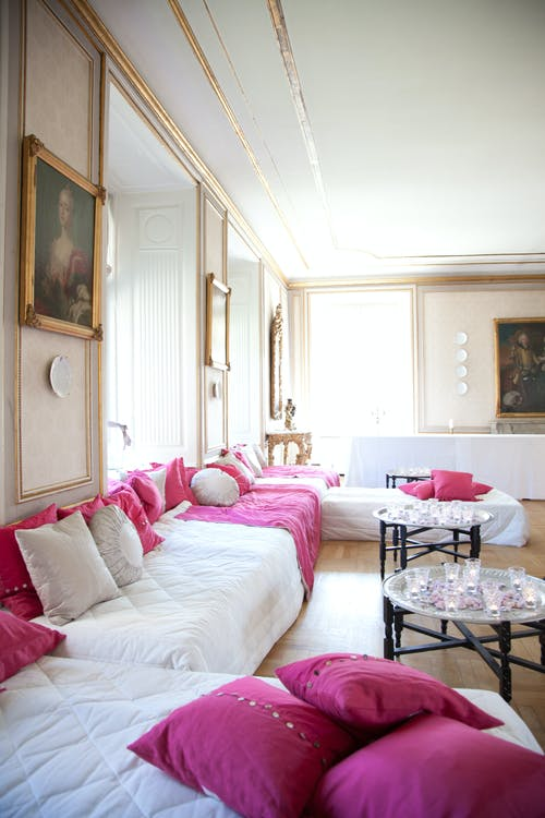 Empty White And Pink Living Room