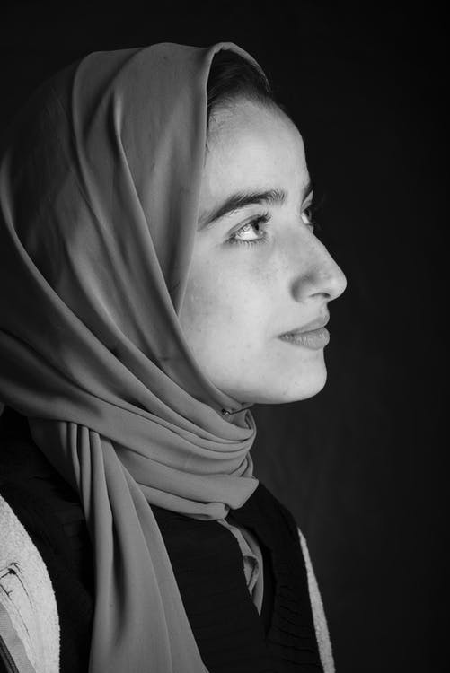 Monochrome Photo of Woman in Headscarf