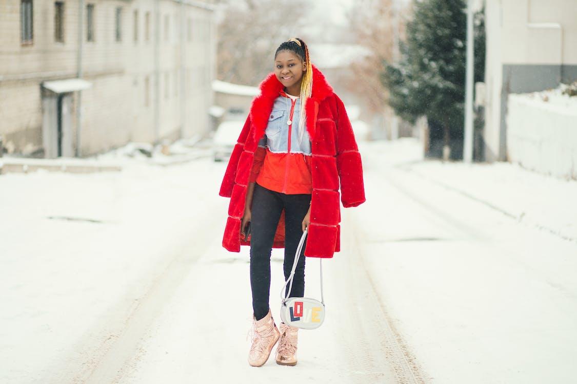 afroamerykanka, czerwony, dama