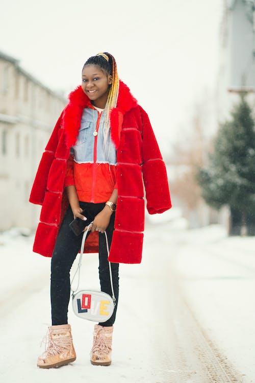 Woman Wearing Red Coat
