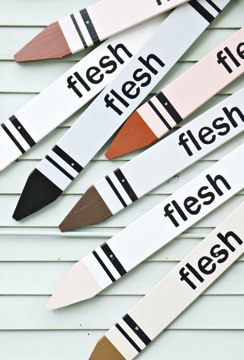 White Crayon-designed Boards With Flesh-printed Text Lot
