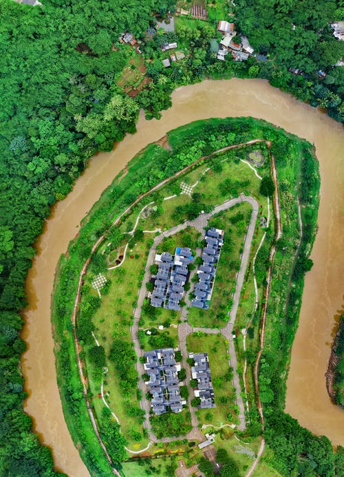 Top View Photo of Houses and River