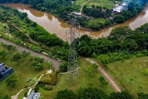 Gratis lagerfoto af by, droneoptagelse, flod, fra oven