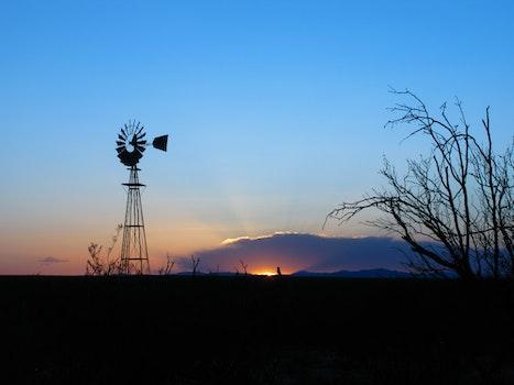 Free stock photo of sunset, sunrise, ray of sunshine, windmill