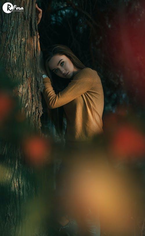 Darmowe zdjęcie z galerii z adobe photoshop, czerwony, drzewo, dziewczyna