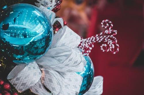 Shallow Photo of Blue Christmas Bauble
