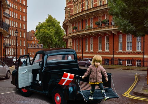 Free stock photo of Ford F100 scale, Litle girl on Pickup truck, Modelcar manipulation, old ford