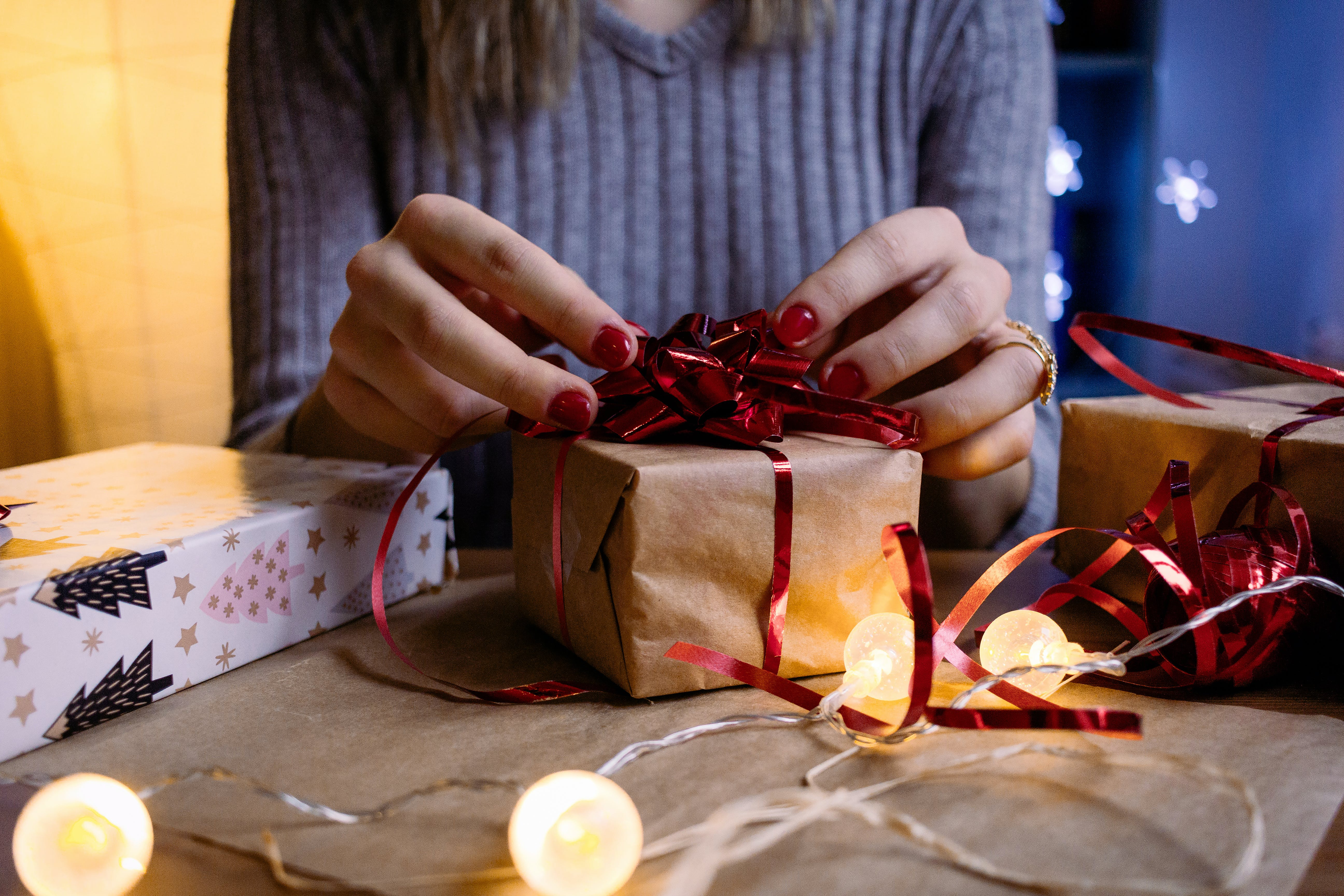 Woman Doing Gift Wrapping