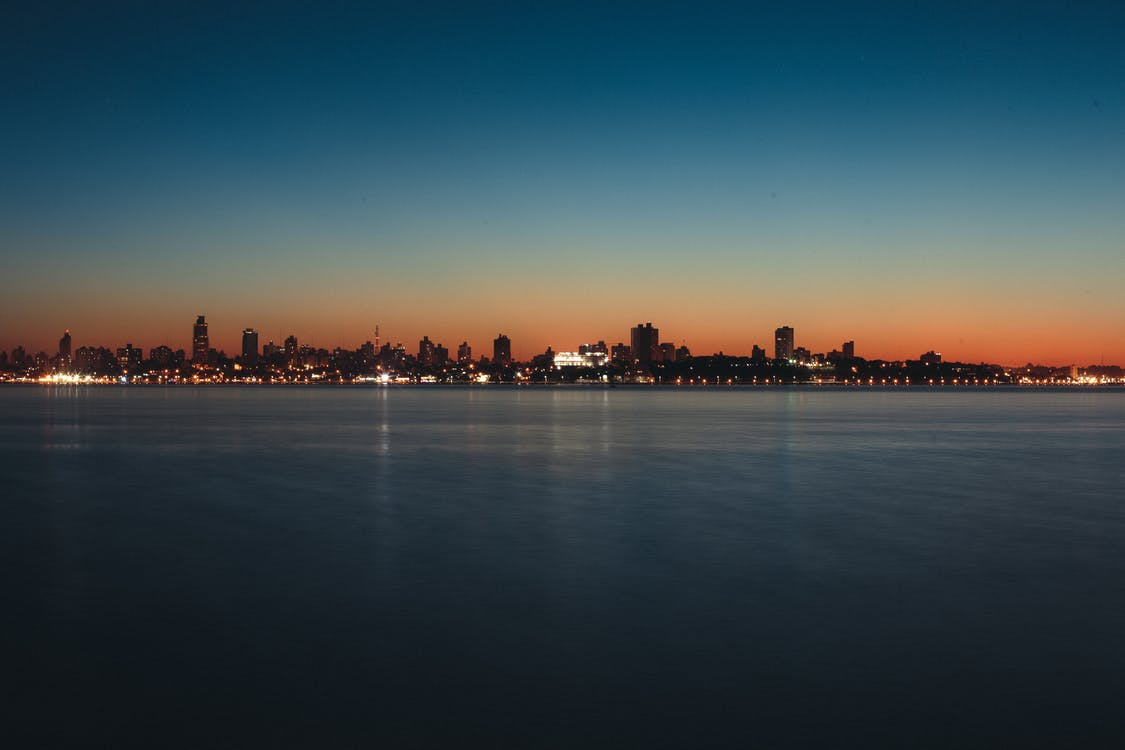 вечер, вода, горизонт