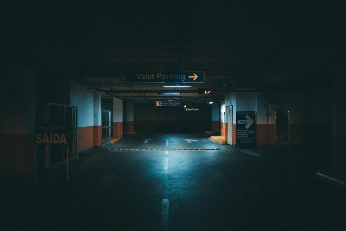 aparcament, arquitectura, fosc