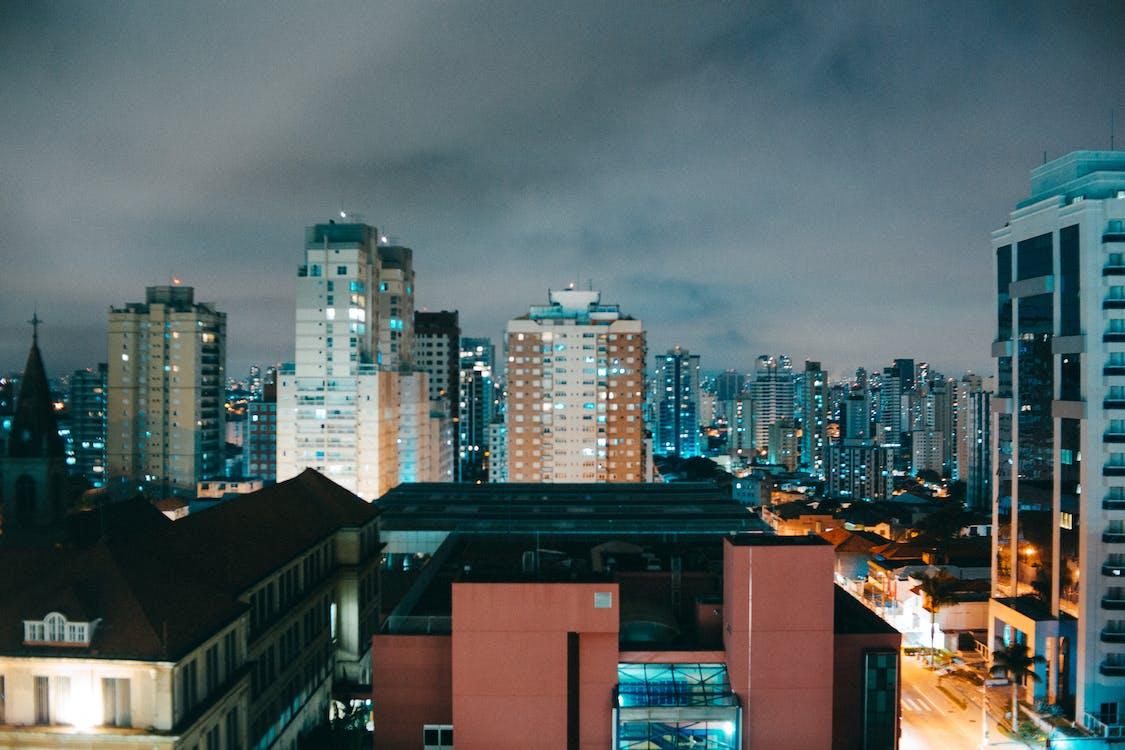 arkkitehtuuri, ilta, kadun tie