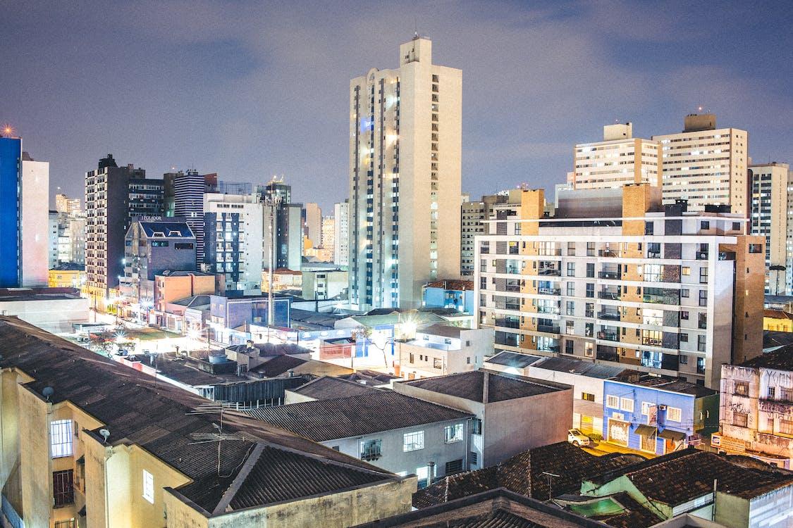 arquitetura, arranha-céu, centro da cidade