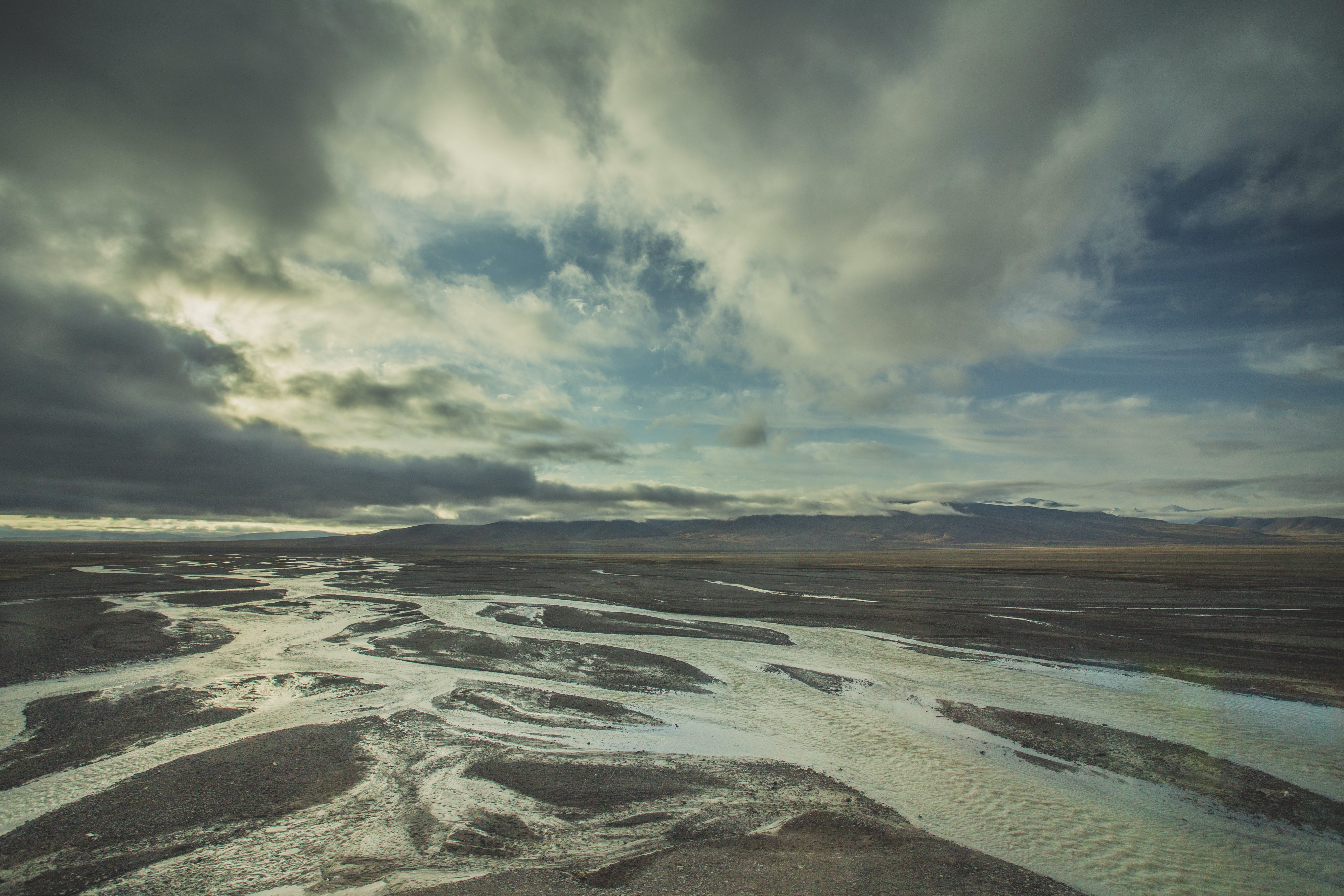clouds, gray, river