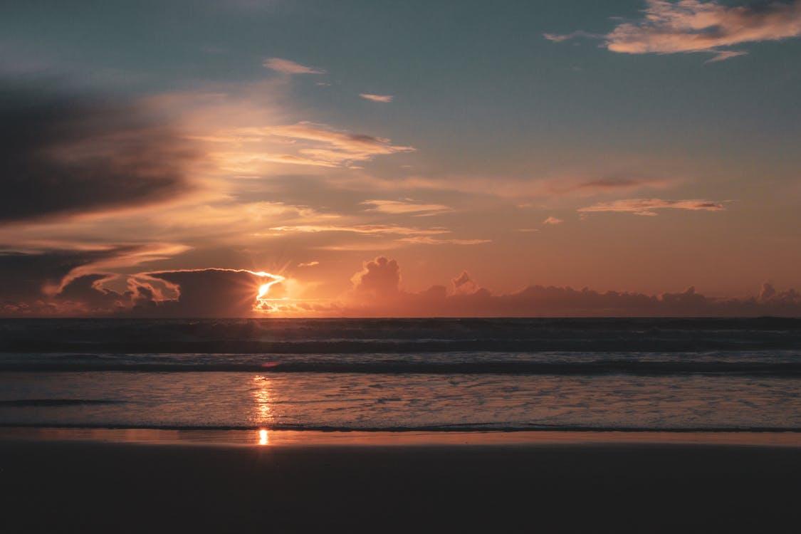 agua, al lado del océano, amanecer