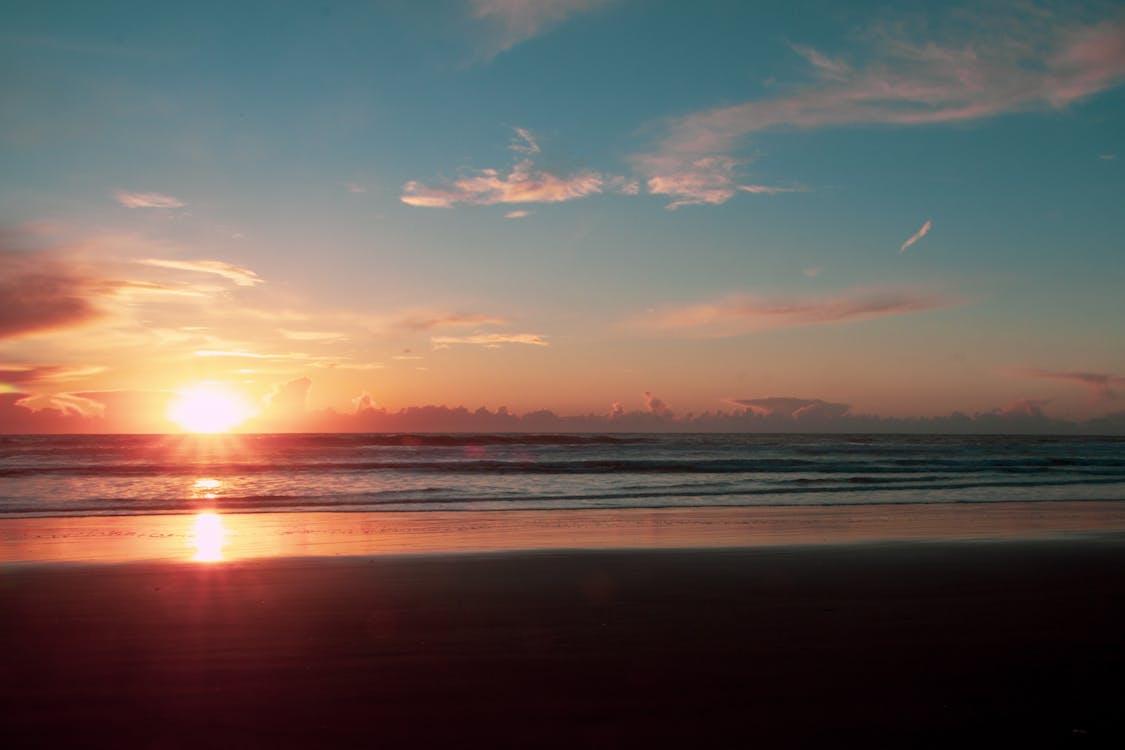 amanecer, arena, cielo