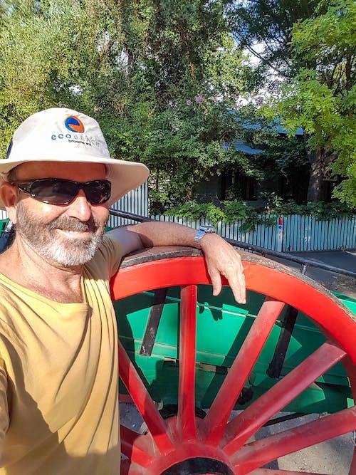 Kostenloses Stock Foto zu alten wagen, entspannt, großes rotes rad, grüne bäume